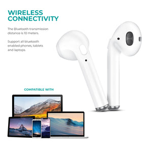Overtime True Wireless Earbuds With Charging Case White - VarietySell