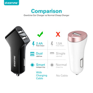 Overtime 2.4 AMP Dual Port USB Car Charger With 6Ft Type C Cable