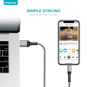 Overtime Apple MFi Lightning Cable 6Ft - Silver