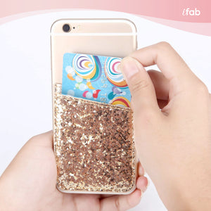 iFab Stick-On Credit Card Wallet Phone Case - Gold - VarietySell