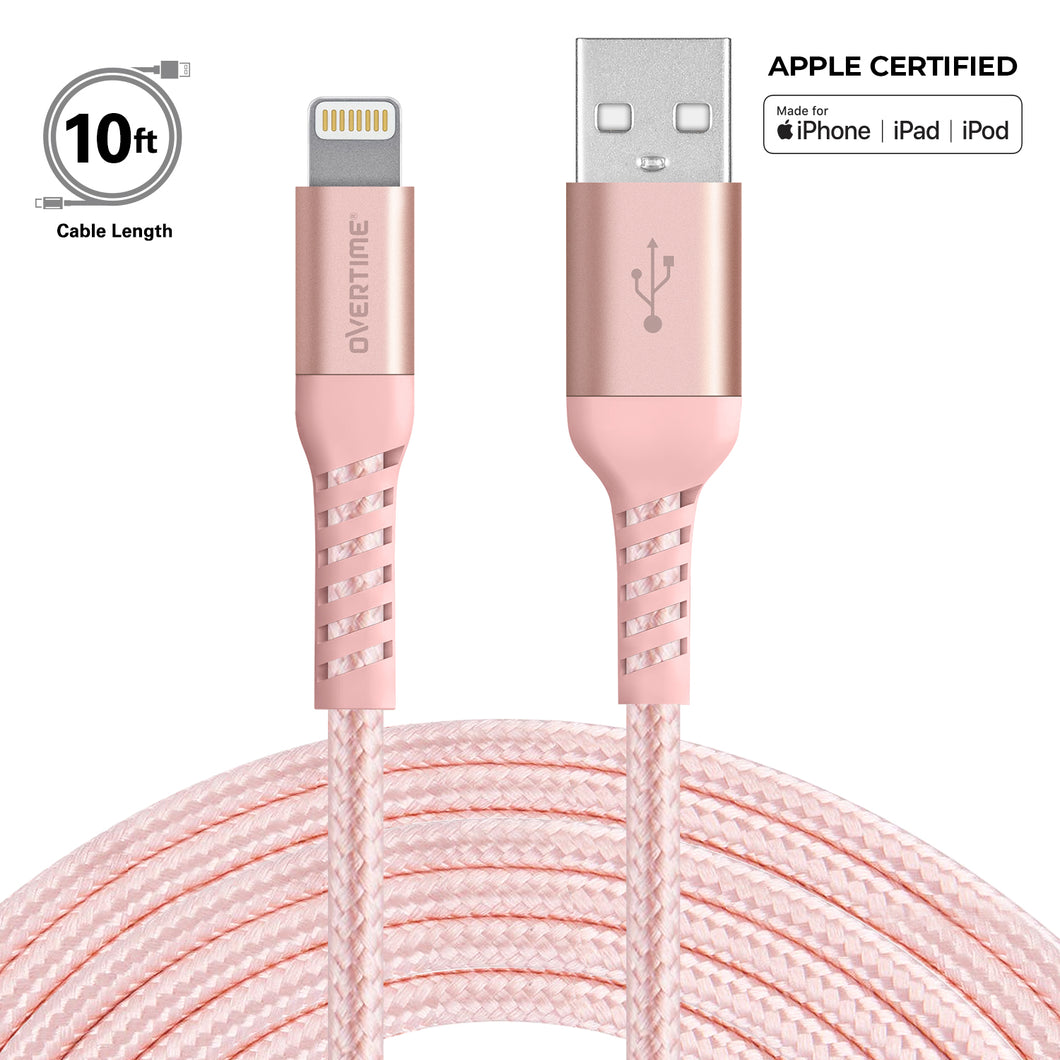 Overtime Apple MFi Lightning Cable 10Ft - Rose Gold