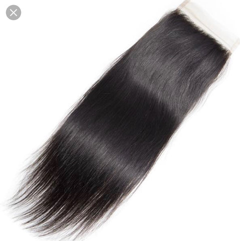 4x4 Lace Closure 100% Raw Human Hair- Straight