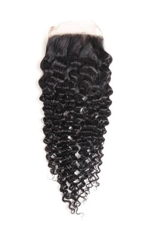 4x4 Lace Closure 100% Raw Human Hair- Kinky Curl