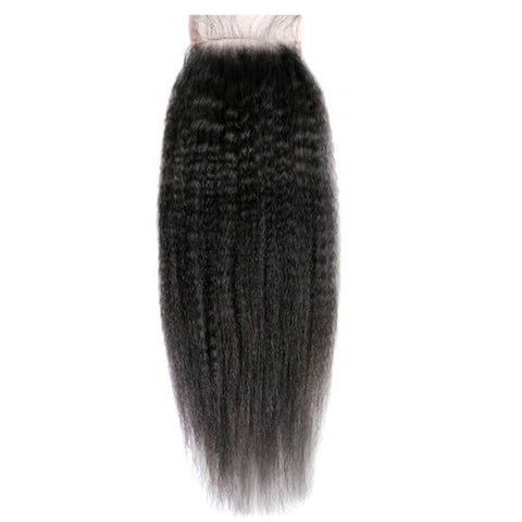 4x4 Lace Closure 100% Raw Human Hair- Kinky Straight