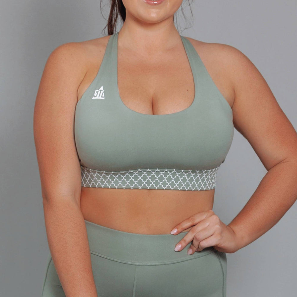Bohemian Twist Support & Compress Sports Bra Olive