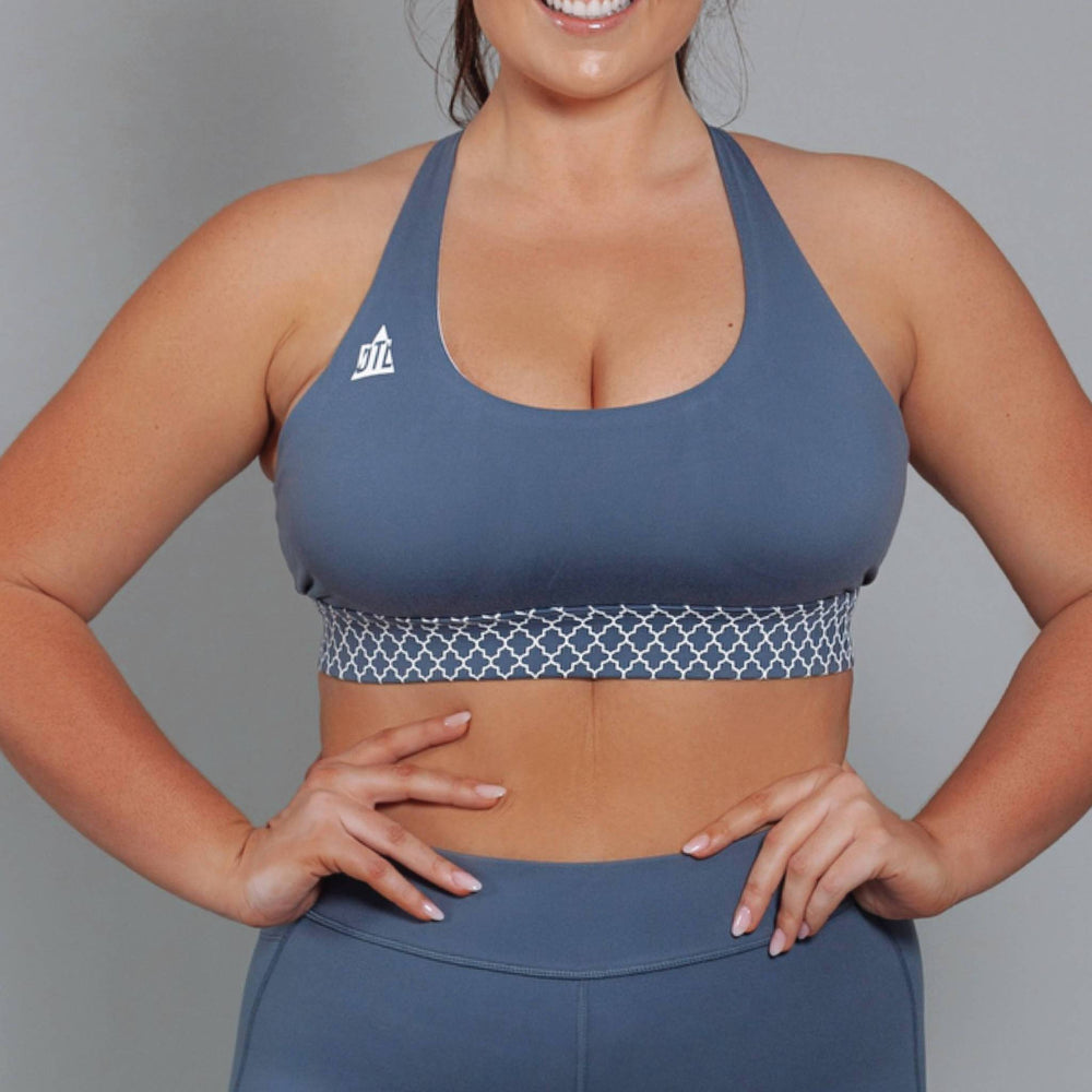 Bohemian Twist Support & Compress Sports Bra Blueberry