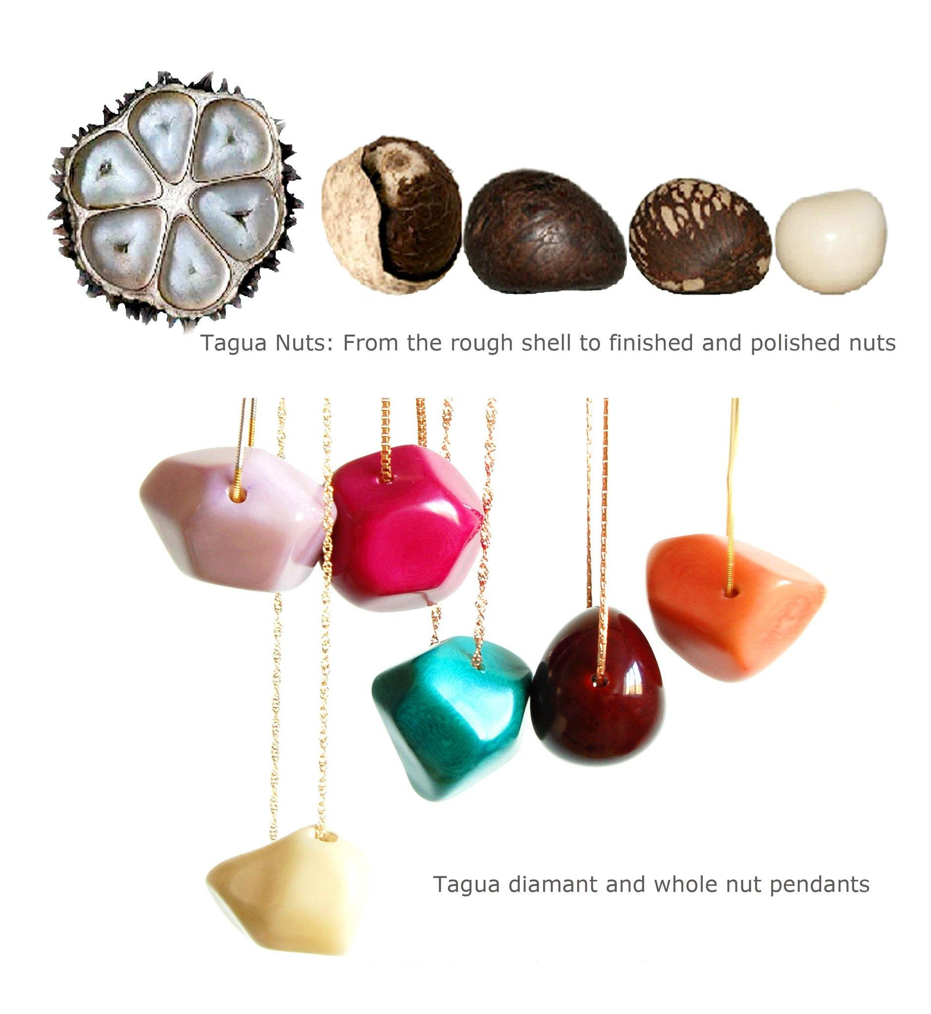 Modern organic jewellery design, made of sustainable tagua nut / vegetable ivory