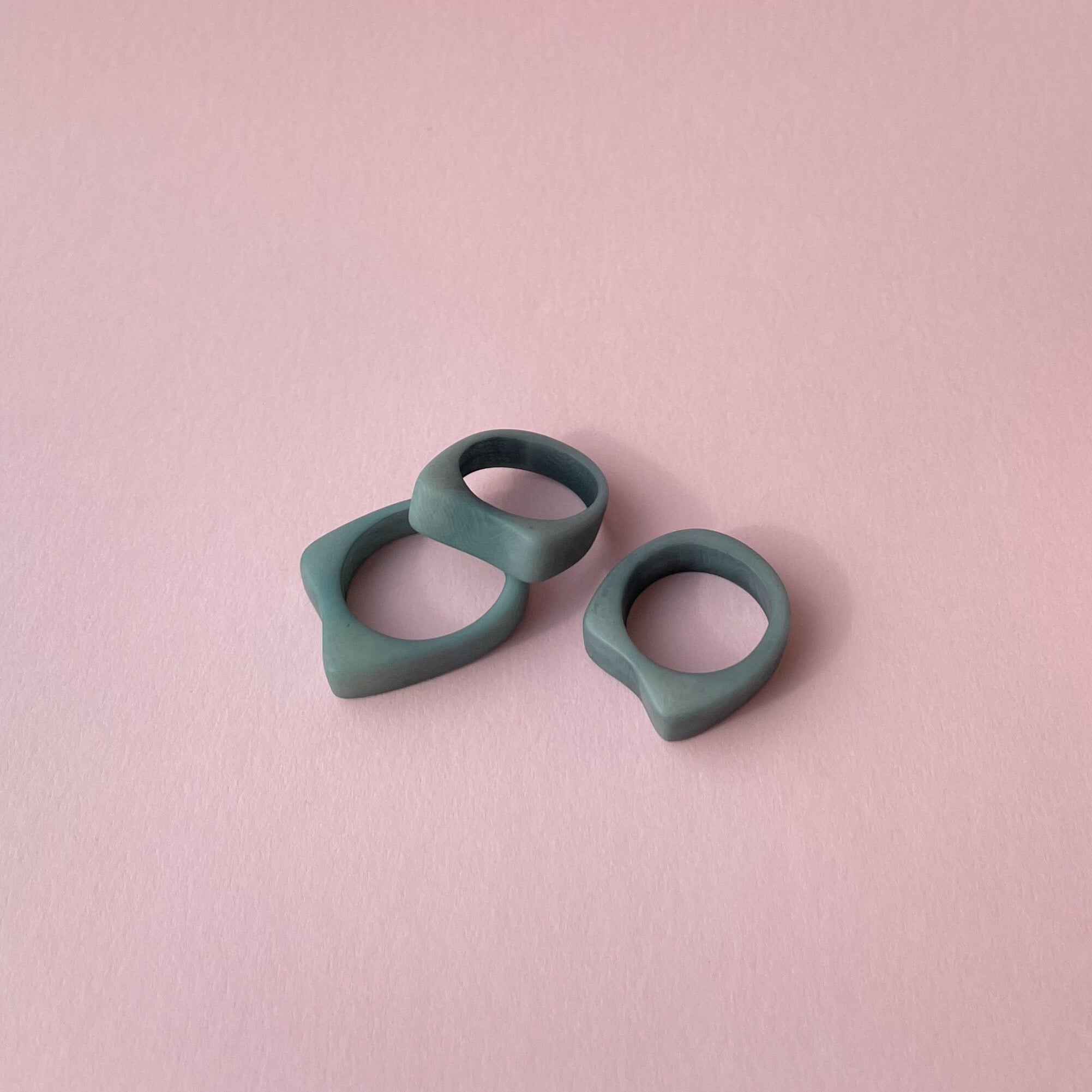 Handmade rings made of tagua nut grey blue