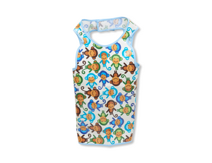 Funny Monkey Hero Bib (light blue lining) - Hero Bibs