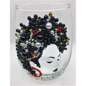 Black and Red Stemless Wine Glass