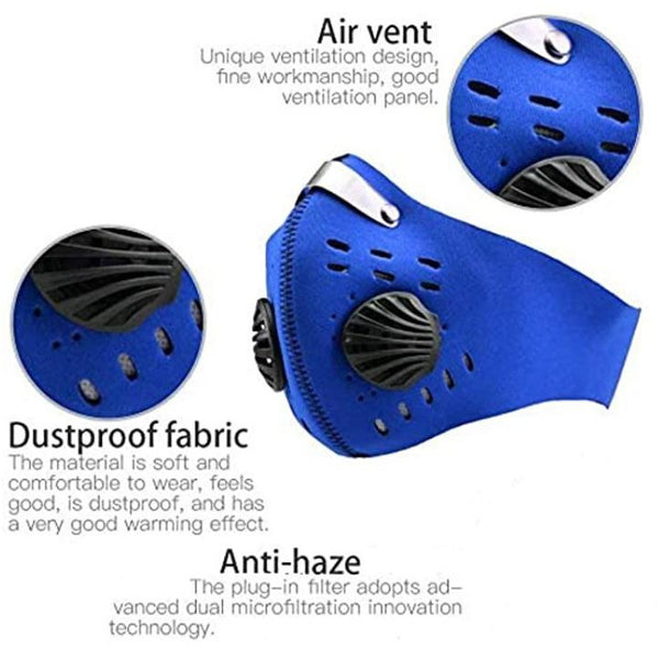 Blue Neoprene Face Mask with Filter