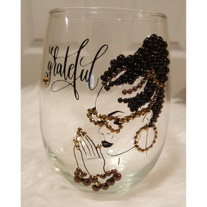 Black and Brown Stemless Wine Glass