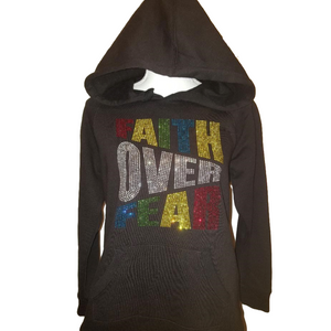 Faith Over Fear Bling Rhinestone Hoodie