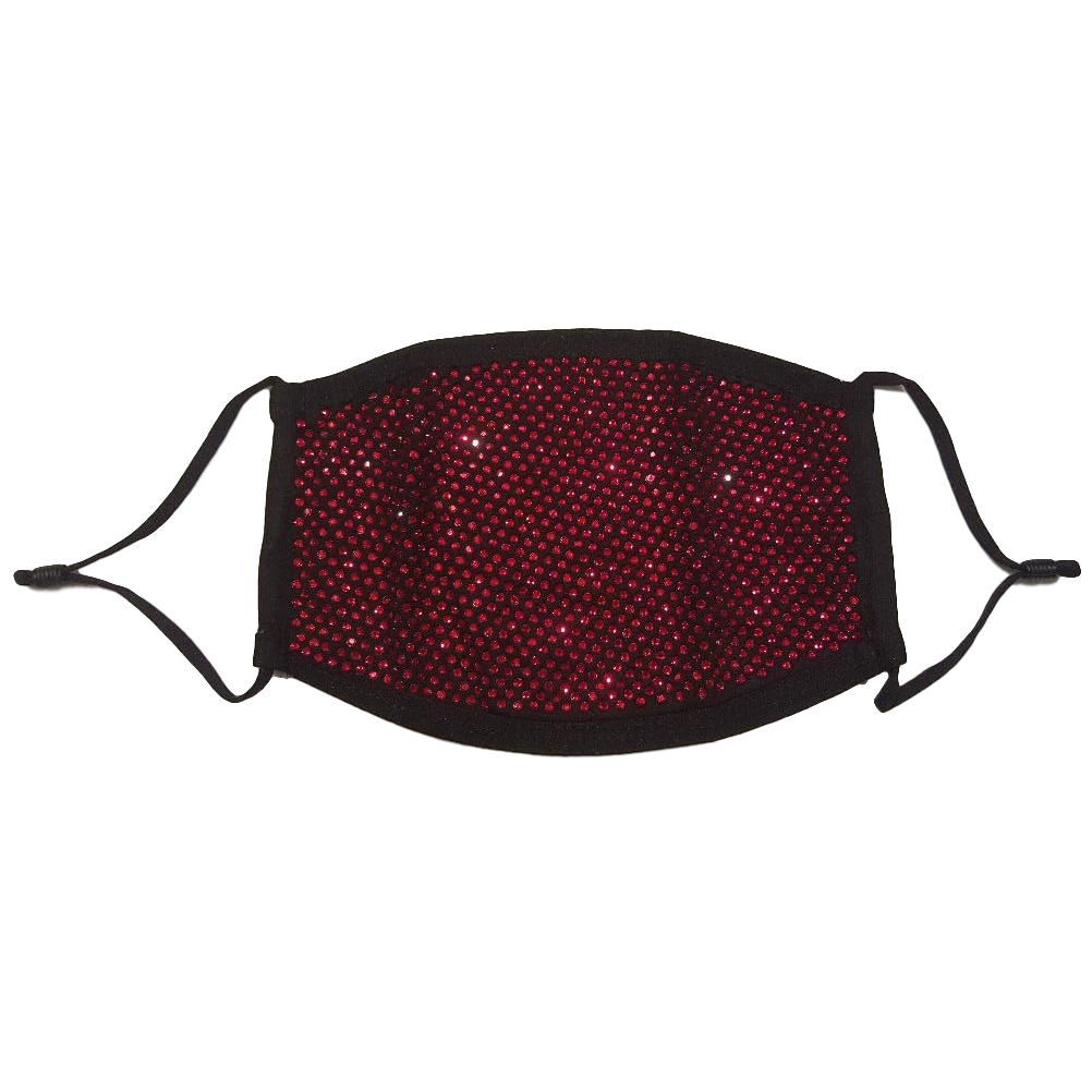 Red Rhinestone Face Mask