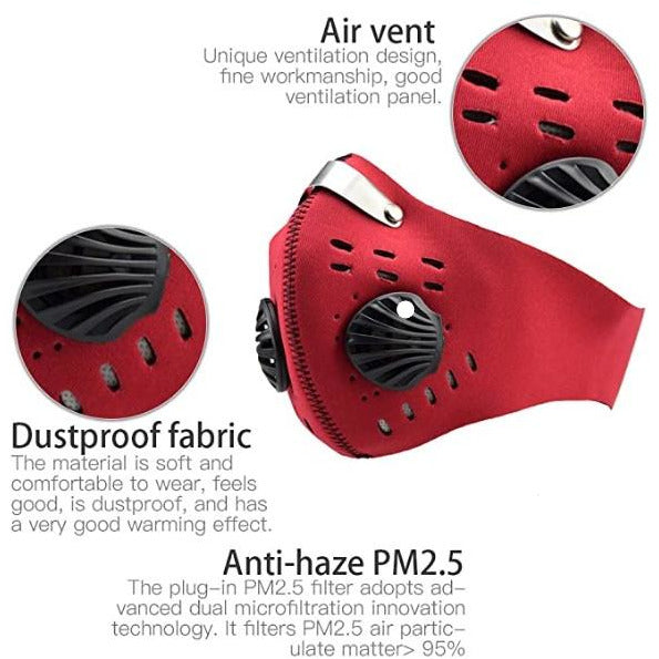 Red Neoprene Mask with Filter