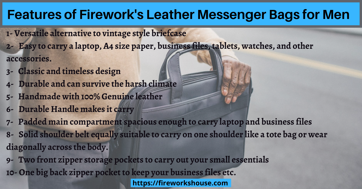 best features of best leather messenger bag for men in Malaysia- fireworkhouse