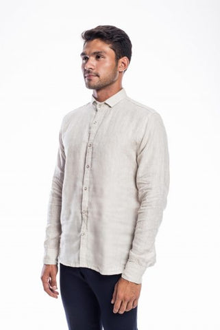 Beige lenin full sleeves shirt