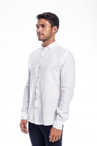 White lenin full sleeves shirt