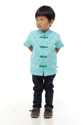 ONGLAI Boy Samfu Short Sleeves Chinese Traditional Batik Shirt - Fireworkshouse