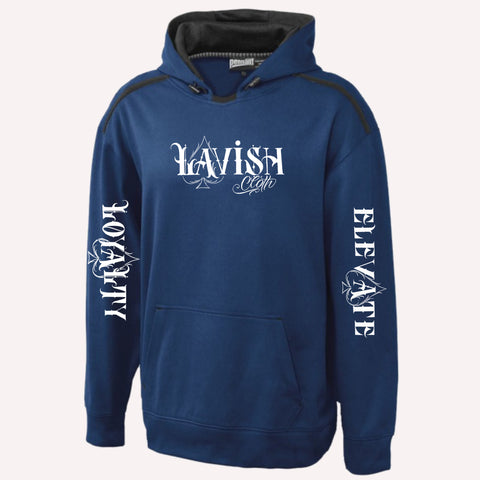 Navy Blue Lavish Cloth Hoodie With Loyalty/Elevate Sleeves