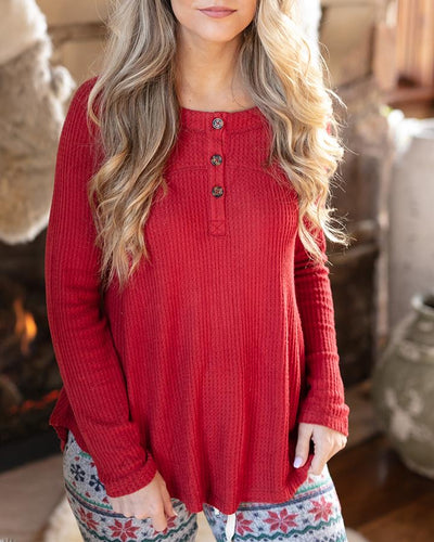 Everyday Thermal Henley in Red