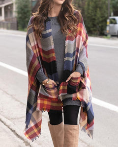 Pocket Poncho / Scarf in Autumn Nights Plaid