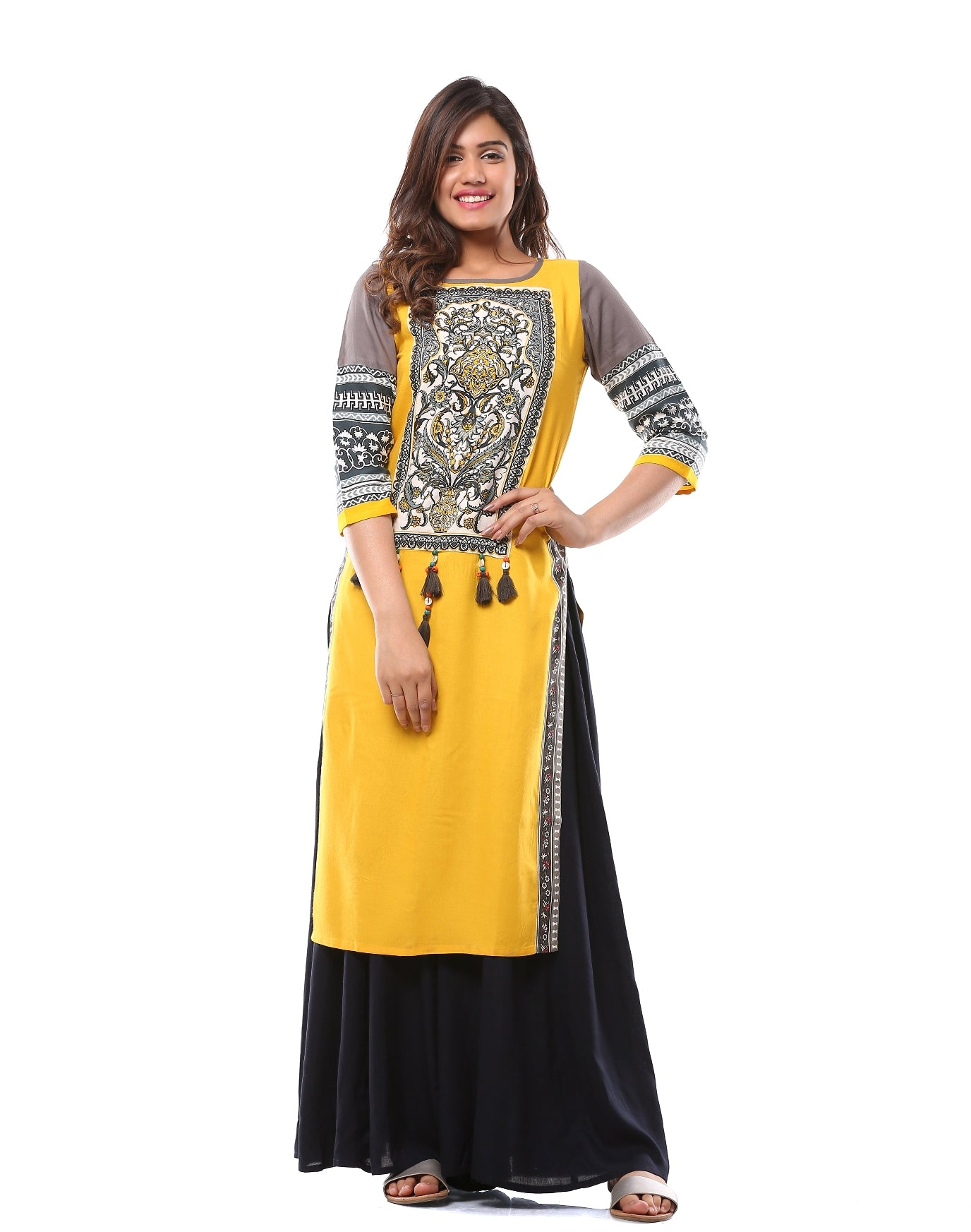 Mughal Kurta with Tassels and Beads