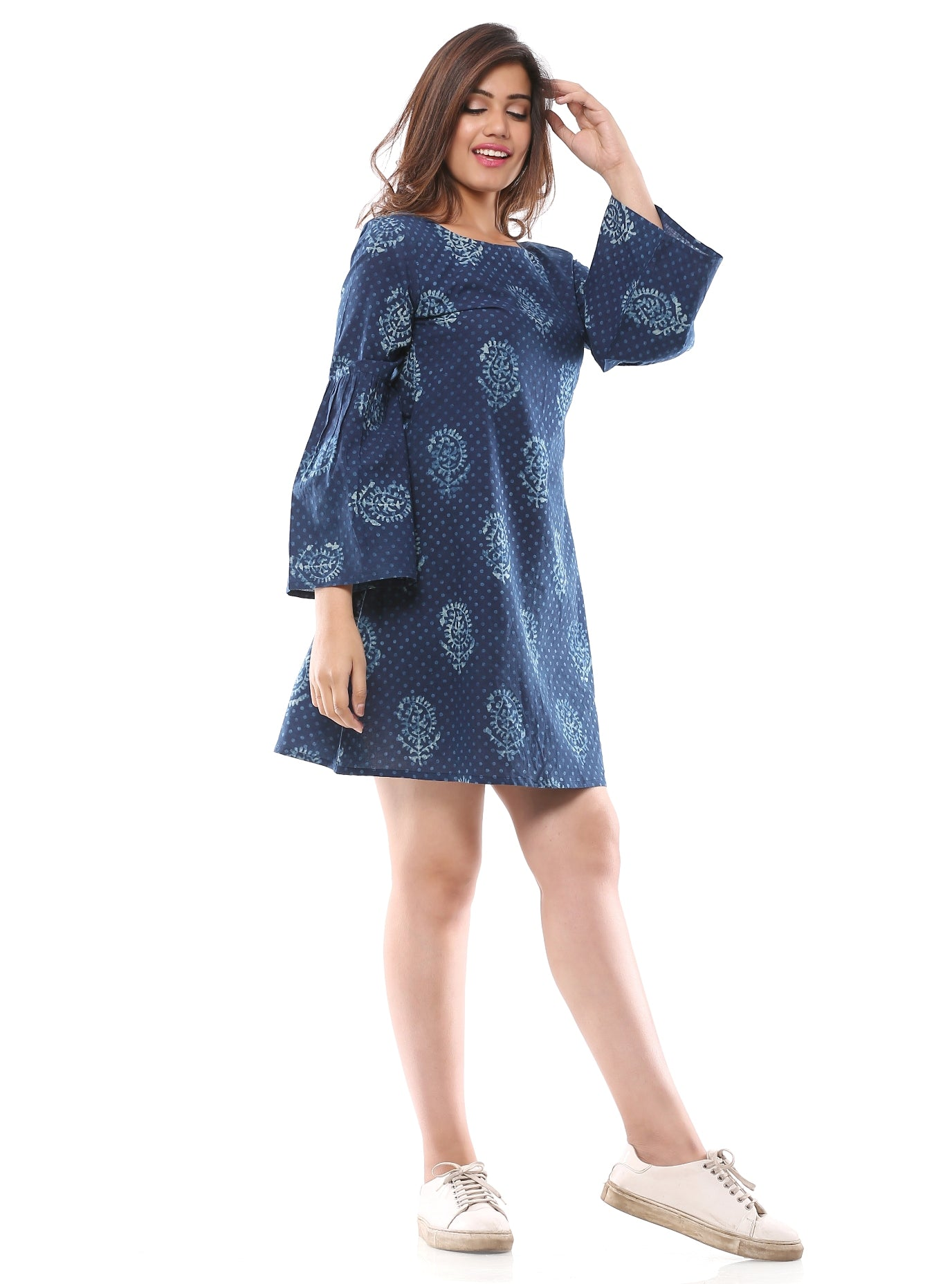 Indigo Print Shift Dress