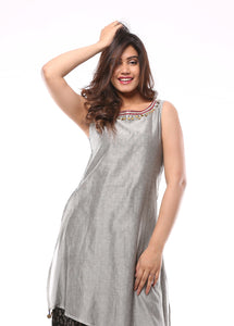 Ash Chanderi Layered Kurta