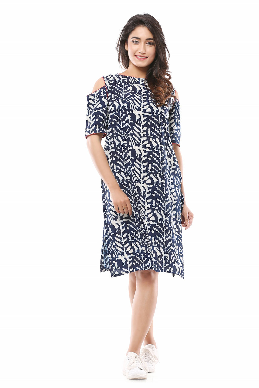 Cold Shoulder Indigo Kurta