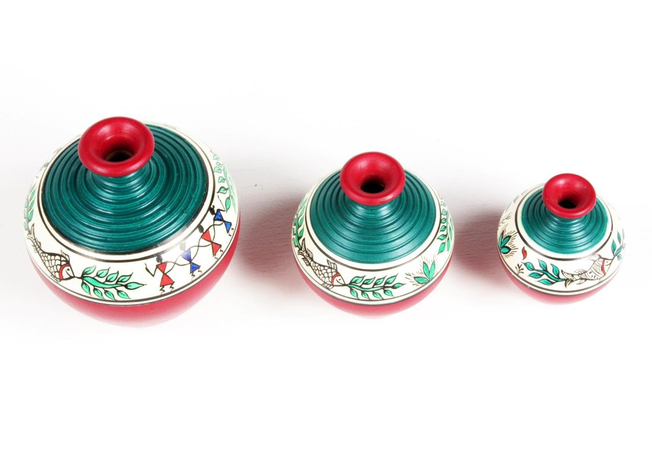 Warli Arts Terracotta Pots ( Set of 3 )