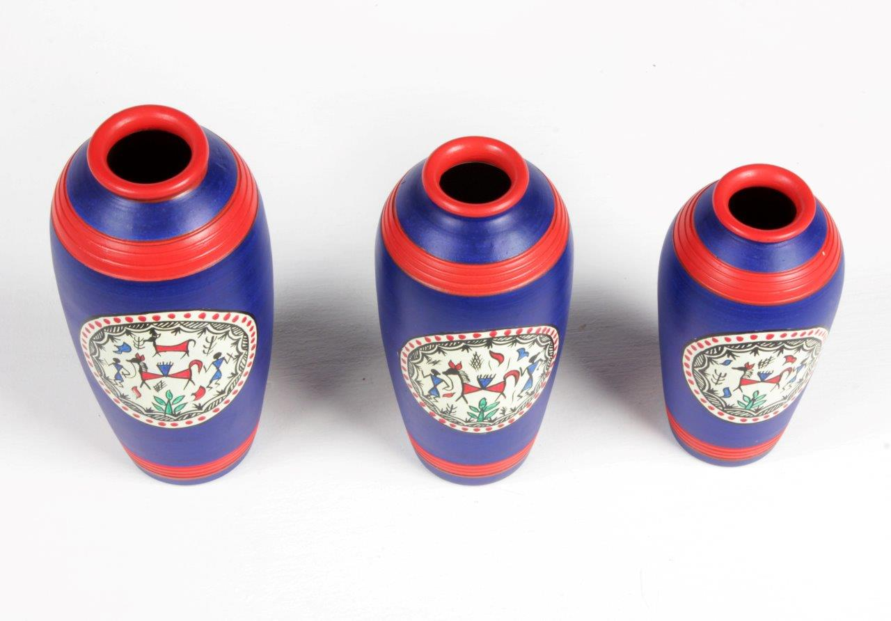 Warli Terracotta Long Line Pots (Set of 3)