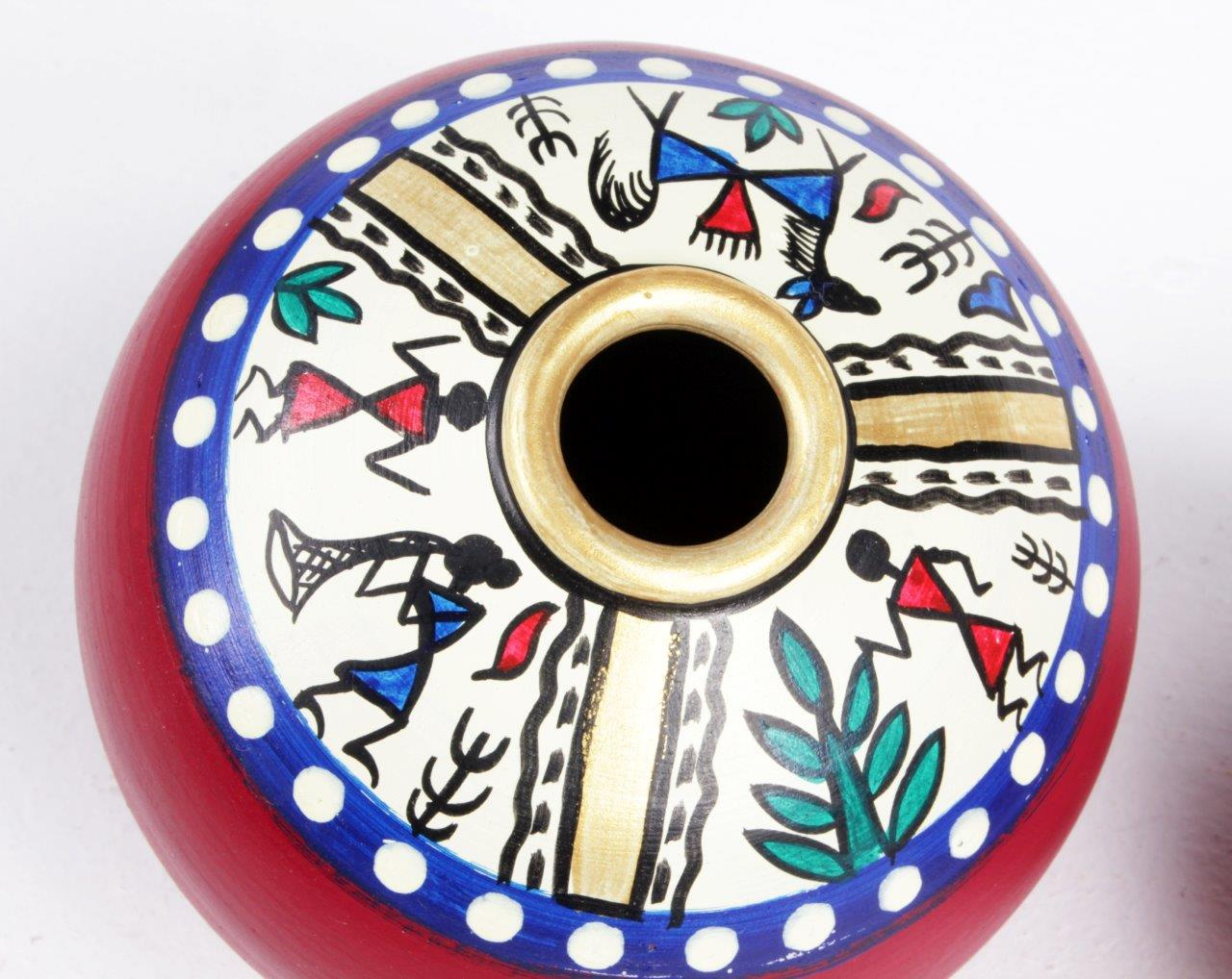 Warli Hand-Painted Side Taper Pot (Set of 3)
