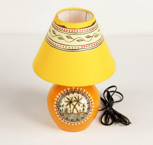 Warli Art Terracotta Round Pot Lamp