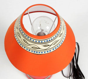 Warli Art Terracotta Slim Pot Lamp