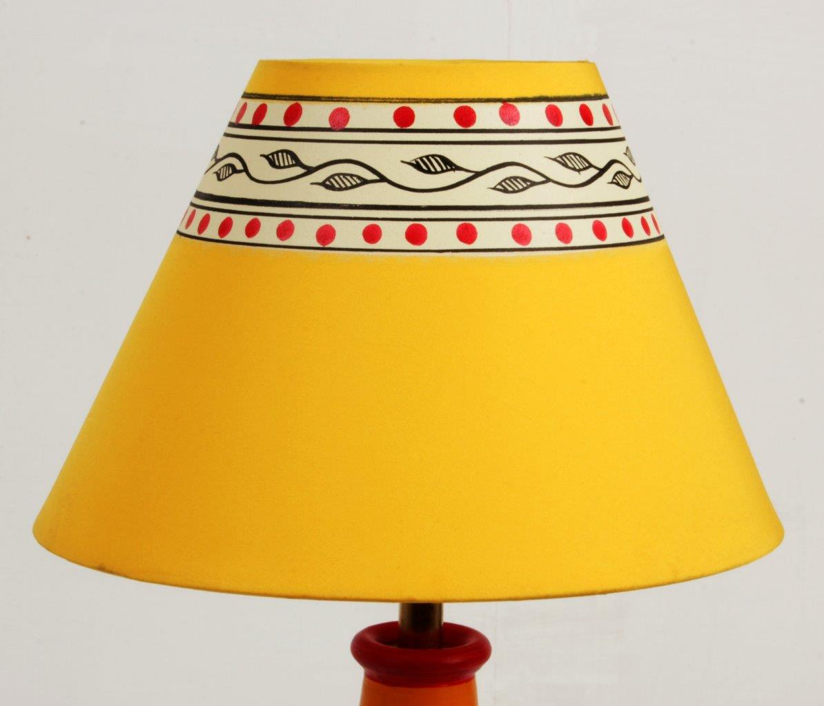 Terracotta Warli Art Flat Pot Lamp