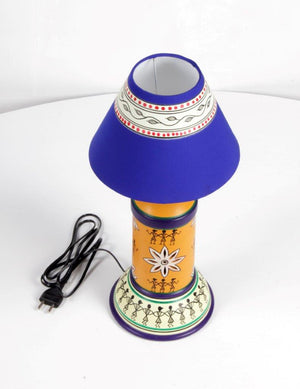 Terracotta Long Lamp with Warli Art