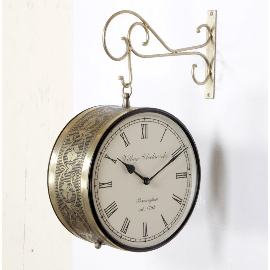 "Antique Brass Finish 10"" Station Clock"
