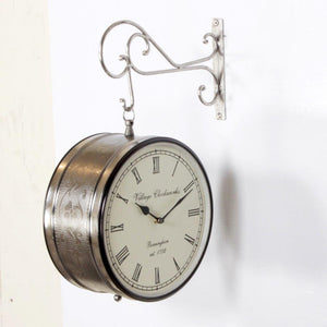 "Nickle Finish 10"" Station Clock"