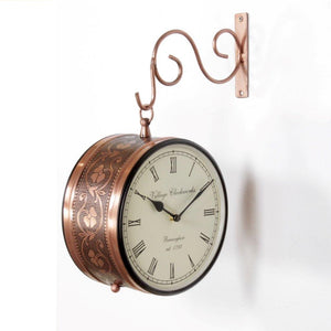 "Antique Copper Finish 8"" Station Clock"