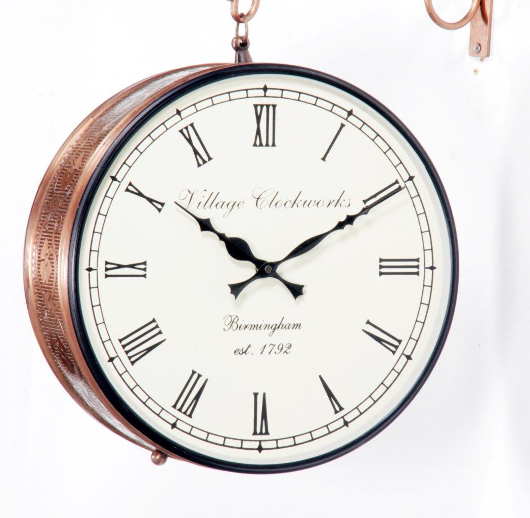 "Antique Copper Finish 12"" Station Clock"