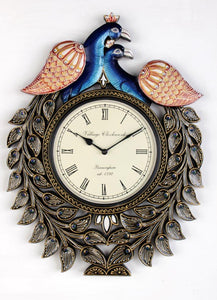 Traditional Peacock Wall Clock 18""