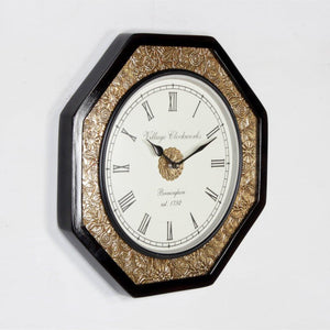 Octagonal Wall Clock Brass Finish 14""