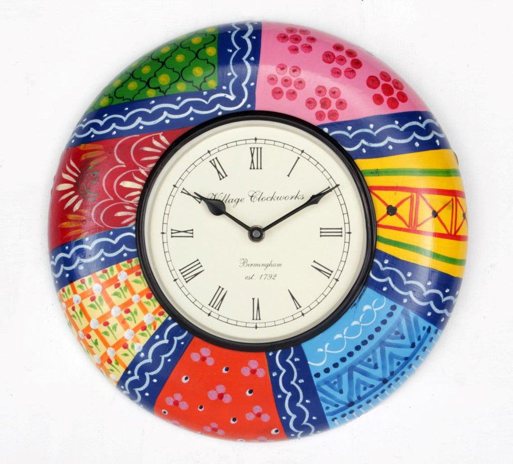 Hand Painted Wall Clock 12""