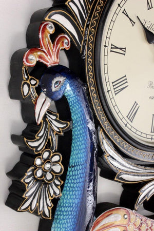 Traditional Peacock Clock 18""