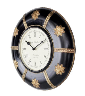 Traditional Clock With Brass Flowers