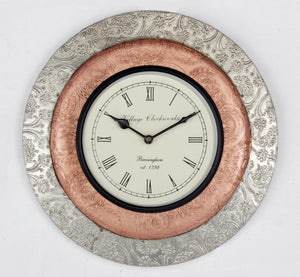 Copper and White Metal Clock 12""