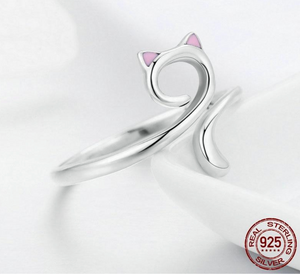 100% 925 Sterling Silver Feline Rescue Ring