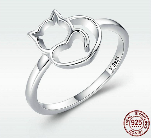 100% 925 Sterling Silver Cat Ring