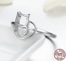 Load image into Gallery viewer, 100% 925 Sterling Silver Cat Ring